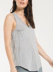 Heather Grey Pocket Racer Tank