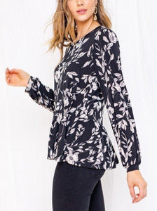Black & Ivory Floral Peplum Top