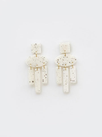 White Dappled Shapes Earring