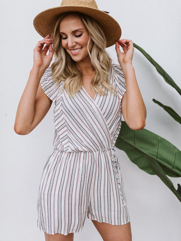 Black & Clay Stripe Ruffle Sleeve Romper