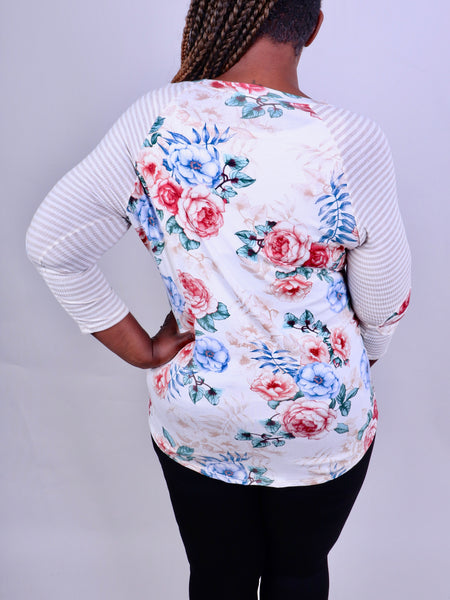 Blue & Taupe Striped Floral Baseball Top Plus