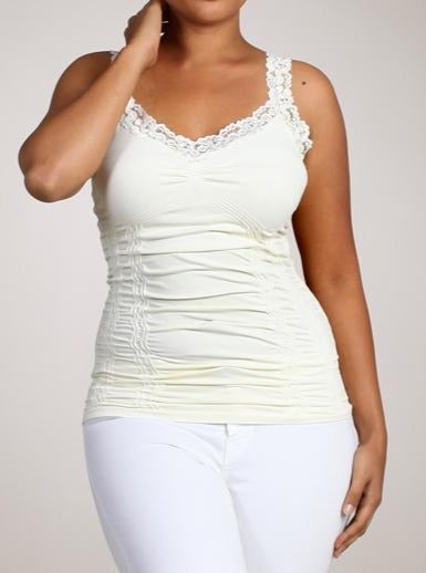 Ivory XL Ruched Cami