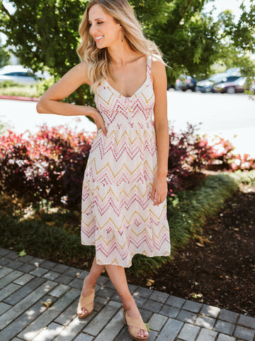 White & Multi Color Eyelet Chevron Dress With Buttons