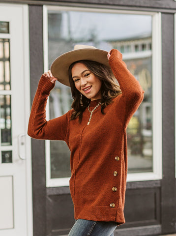Rust Button Side Sweater