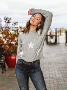 Heather Grey Star Print  Sweater