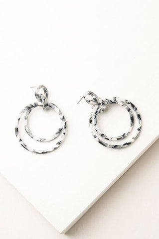 Black & White Margot Resin Dangle Earrings