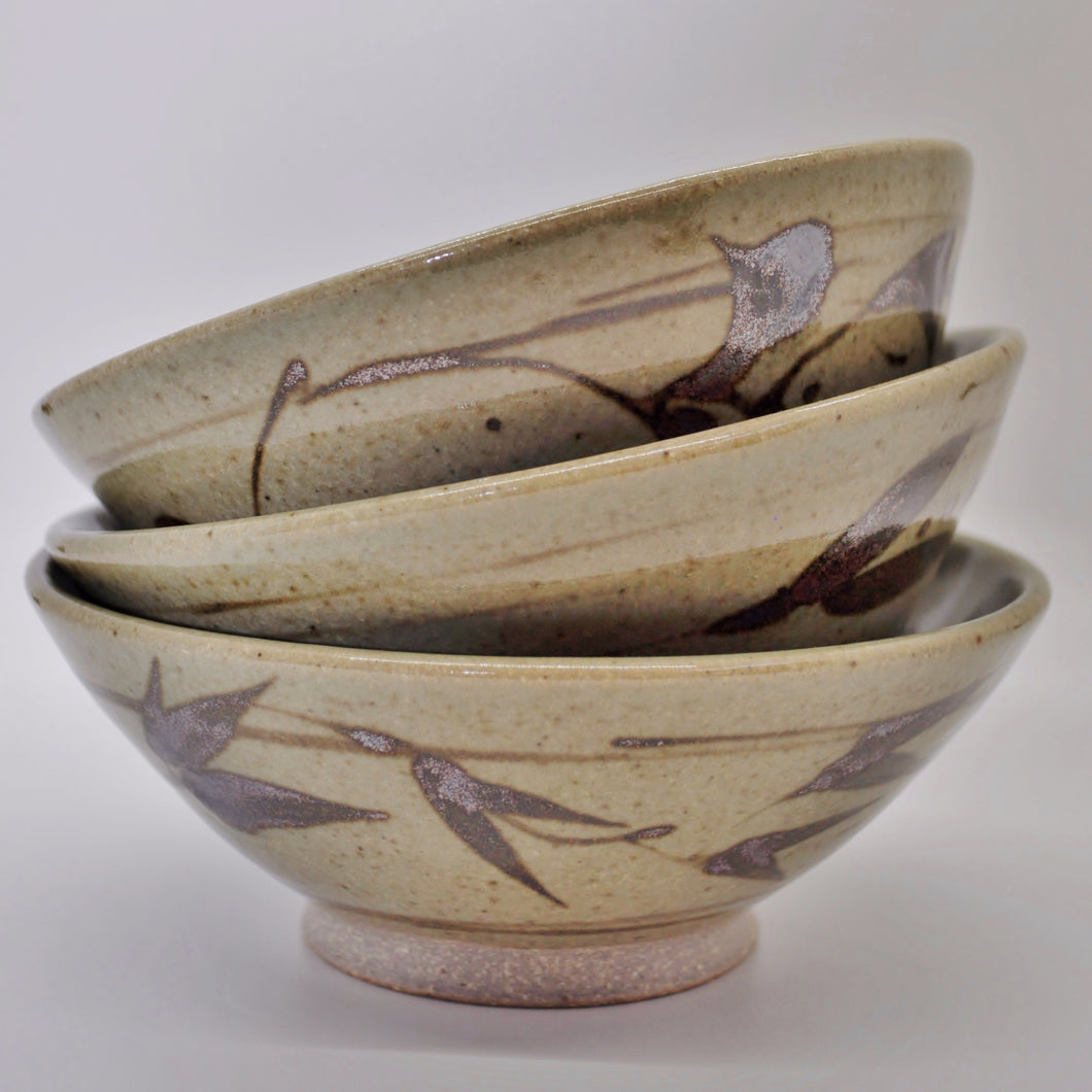Ceramic Bowl with Red Iron Oxide Brush Work