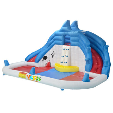 Shark Inflatable Slide Water Park with Swimming Pool