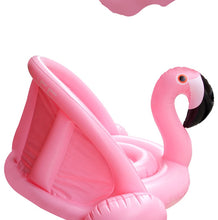 0-3 Years Old Baby Inflatable Flamingo Pool Float with Sunshade