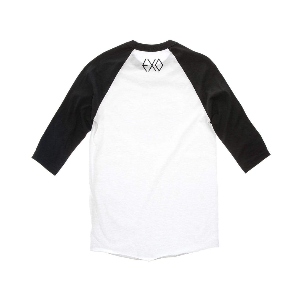 "EXO ""We Are One"" Raglan T-Shirt with Rhinestones - White/Black Tops EXO"