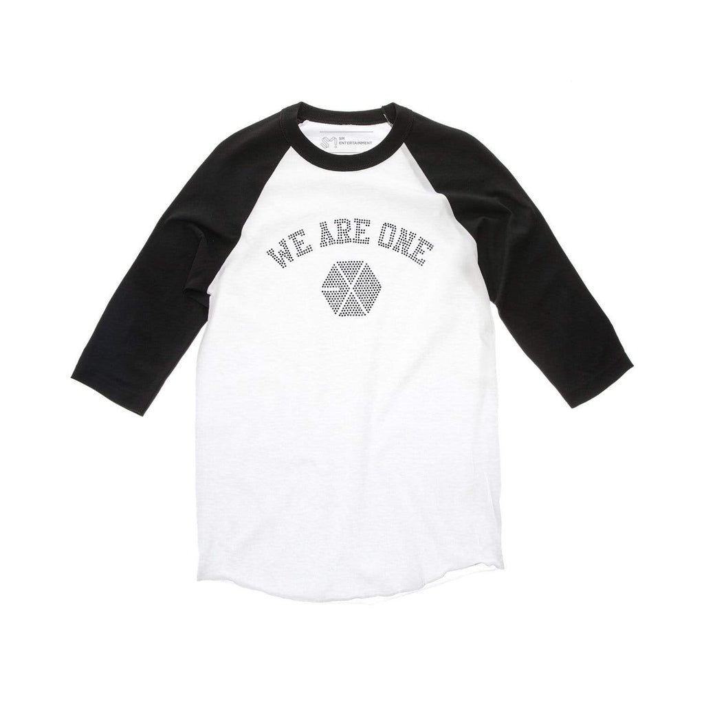 "EXO ""We Are One"" Raglan T-Shirt with Rhinestones - White/Black Tops EXO Small"