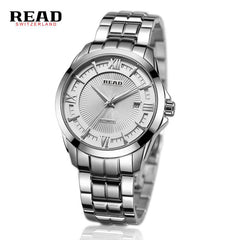 2017 Luxury READ Brand Mens Watch Automatic Watch Silver Case Calendar Male Clock Silver Mechanical Watch Relogio Masculino