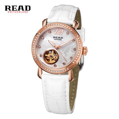 2017 READ Brand Female RoseGold Automatic Watches Self-Wind Mechanical Watches Women Genuine Leather Strap Skeleton Ladies Watch