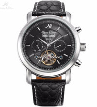 KS Grand Series Automatic Mechanical Wrist Watch Black Date Tourbillon Stainless Steel Men Leather Clock +Wooden Gift Box /KS367