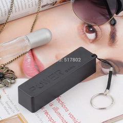 1Pcs Black Color Mobile Power Bank Key Chain USB 18650 Flat Top Battery Charger for iPhone HTC Samsung MP3