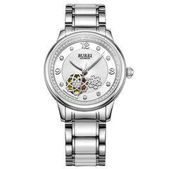BUREI Brand Crystal Sapphire Ladies Ceramic Automatic Mechanical Watch Fashion Dress Wristwatches With Premium Package 15027