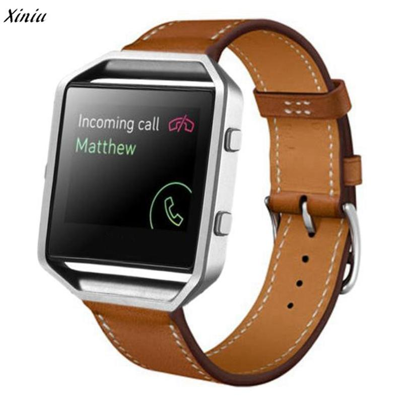 Xiniu Watchband For Fitbit Blaze Smart Watch 23mm Luxury Brand PU Leather Watches Wrist Strap Replacement