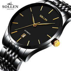 reloj hombre new fashion simple quality steel automatic mechanical men watch Original genuine ultra-thin waterproof male watches