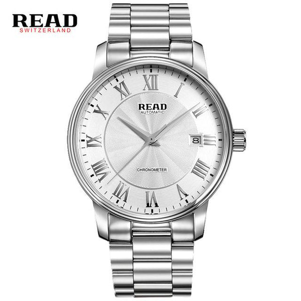 READ automatic Watches Branded Mens Classic Stainless Steel Self Wind Skeleton Mechanical Watch Fashion Cross Wristwatch R8040