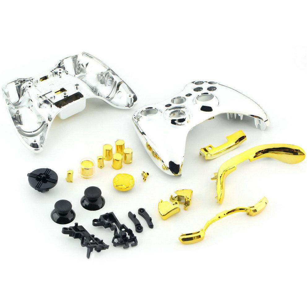 Custom Chrome Silver Controller Shell for Xbox 360 Housing with Full Chrome Gold Buttons Inserts Accessories Wholesale