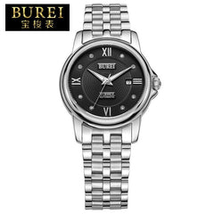BUREI Lovers Crystal Sapphire Stainless Steel Automatic Mechanical Watch Waterproof Couple Wristwatch With Premiums Package 5017