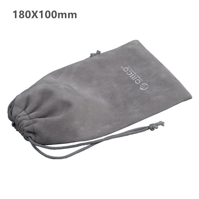 ORICO Phone Storage Velvet Bag Storage for Earphone/USB Charger/USB Cable/Power Bank/Phone and More Gray Color