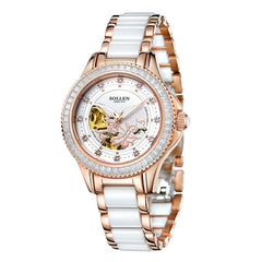 Relogio feminino skeleton watch women transparent waterproof clock hollow automatic ceramicwrist mechanical dress wristwatches