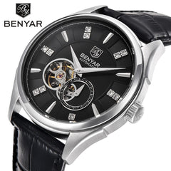 BENYAR Automatic Mechanical Skeleton Watch Men Genuine Leather tourbillon Mechanicals Mens Watches Top Brand Luxury Male Clock