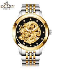 reloj hombre Dragon Skeleton Mechanical  WristWatch Men Stainless Steel Strap Gold Clock 50m Military Army Waterproof Men watch