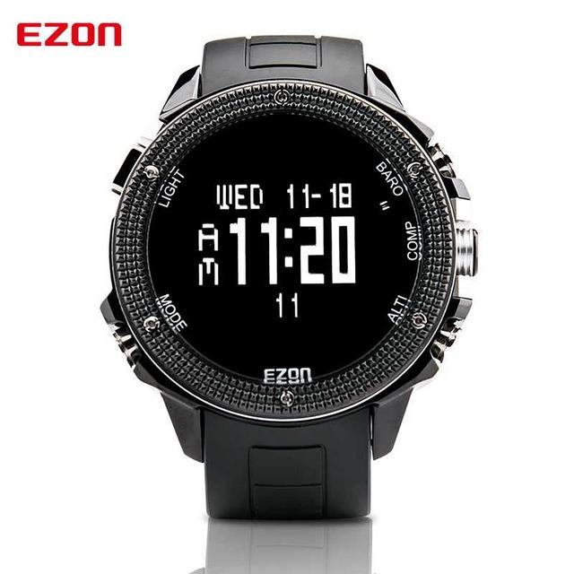 EZON Altimeter Barometer Thermometer Compass Weather Forecast Outdoor Men Digital Watches Sport Clock Climbing Hiking Wristwatch
