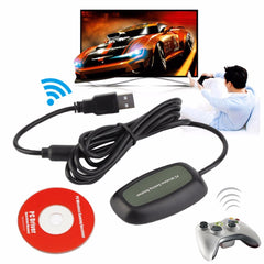 USB 2.0 PC Wireless Controller Gaming USB Receiver Adapter For Microsoft for XBOX 360 with a CD
