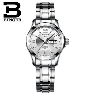 2017 Binger Watch Women Luxury Brand Japan Automatic Mechanical Movement Wrist Sapphire Waterproof Ladies Watch gold 8051