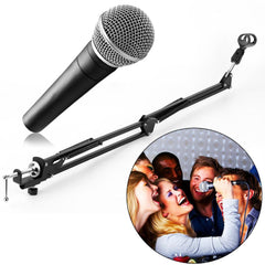 Extendable Recording Microphone Suspension Boom Arm Stand Holder with Clip Table Mounting Clamp for Studio Broadcast Black