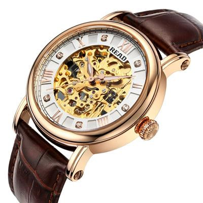 2017 READ Brand Hot Sale Sapphire Glass Skeleton Watch Man Fashion Automatic Wristwatch Self-Wind Mechanical Watch Freeshipping