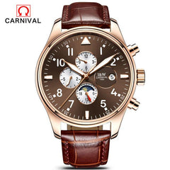 Men Casual Luminous Wrist watch Carnival Top Brand Luxury Mens Watches Sapphire Fashion Mechanical Watch Multifunction 6 Hands