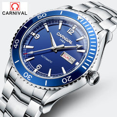 CARNIVAL Design Classic Men's Mechanical 50M Diving Series Waterproof Watches Stainless Steel Luxury Brand Watch Man Relogio