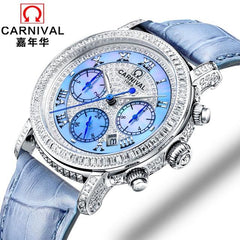Casual Ladies Watches 2017 CARNIVAL Mechanical Watch Top Luxury Brand Lady Wrist Watch Women Crystal Diamond Women Clock relogio