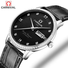 Minimalist Design Switzerland Watches Carnival Luxury Brand Leather Watch 2017 New Men Business Automatic Mechanical Watches