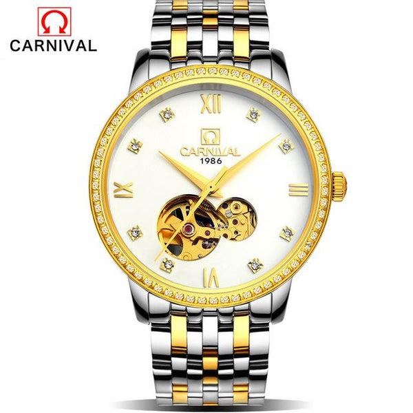 Mens Watches Top Brand Luxury Automatic Mechanical Watch Clock CARNIVAL 2017 New Series Auto Date Golden case relogio masculino
