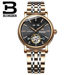 Switzerland BINGER men's watch luxury diamond Full stainless Steel sapphire Superior quality Mechanical Wristwatches B-1173-5