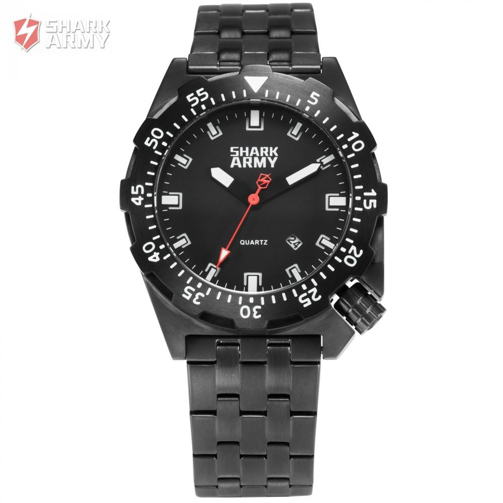 Shark Army 100m Water Resistant Black Full Steel Sport Minimalist Watch Auto Date Relogio Clock Military Wrist Watches /SAW190