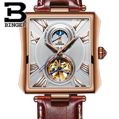 NEW Automatic Mechanical Watch Men Sapphire Binger Luxury Brand Waterproof Watches Male Tourbillon Wrist watch Clock B-5071M-2