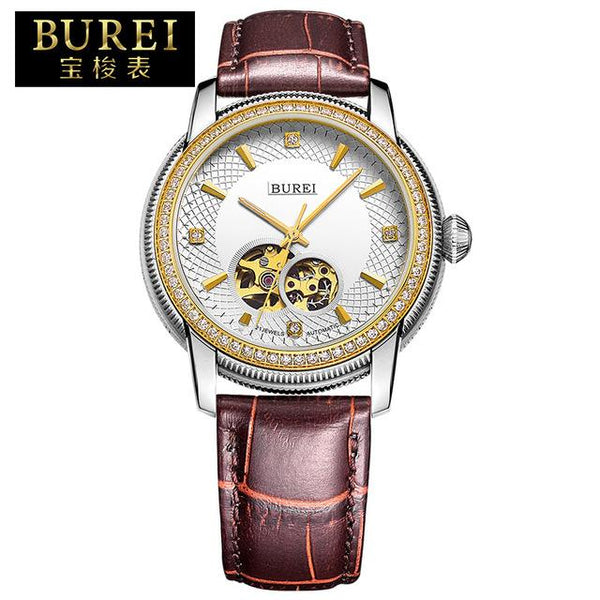 BUREI Luxury Men Crystal Sapphire Genuine Leather Automatic Mechanical Watch Waterproof Wristwatches With Premiums Package 5015