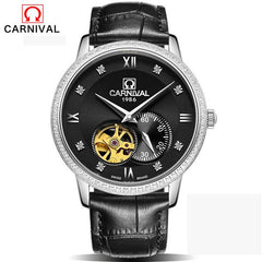 CARNIVAL Skeleton mens watches top brand luxury automatic mechanical watch sport waterproof black business belt watch Tourbillon