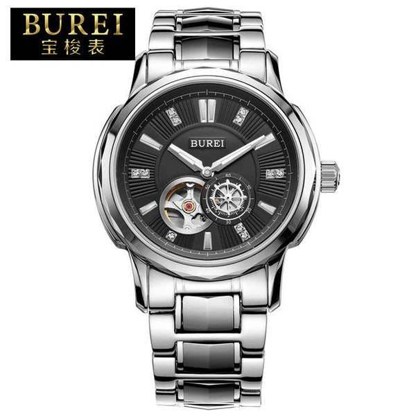 BUREI Business Men Stainless Steel Automatic Mechanical Watch Waterproof Luminous Wristwatches With Premiums Package 5012