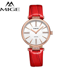 MIGE Women Watches Fashion Luxury Quartz-watch Women's Wristwatch Clock Relojes Mujer Ladies Watch Leather Strap Montre Femme