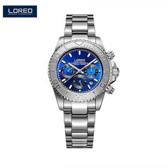 LOREO Fashion Sport Watches Men Watch Mechanical Wristwatches Stainless Steel Strongest Luminous Waterproof 200m AB2055