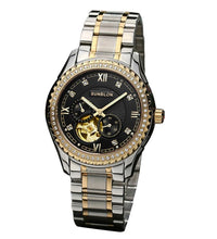 New style SUNBLON S505B Stainless Steel Mechanical Skeleton Watch Golden Movement#915