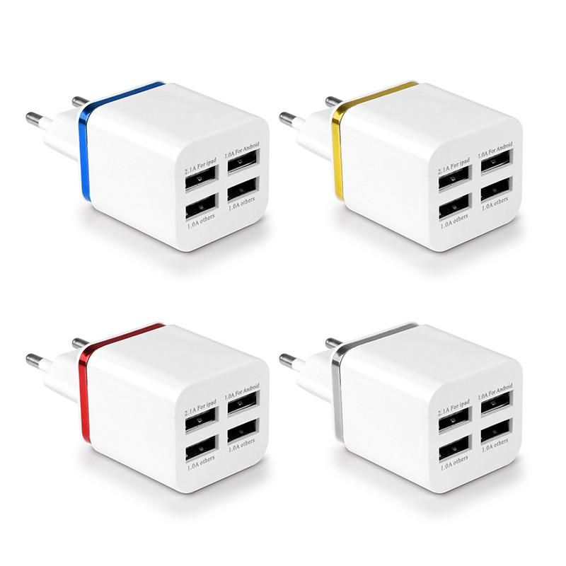 Powstro Travel Adapter for iPhone Samsung iPad For Android Phone charger EU US Plug 5.1A Universal 4 Ports USB Wall Charger