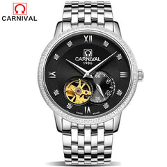 CARNIVAL 2017 gold watches Men luxury top brand stainless steel fashion skeleton automatic mechanical watches relogio masculino